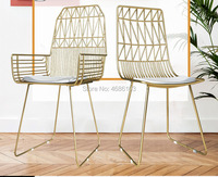 Fashion Nordic Chair Luxury Gold Iron Make up chair backrest modern floor chair living room chair home bedroom furniture