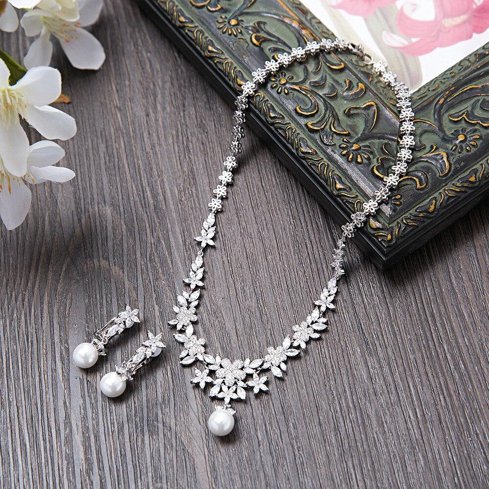 Vintage femmes collier déclaration AAA Marquise coupe fleur pendentif ensemble de Bijoux simulé perle Dangle boucle d'oreille mariage mariée Bijoux