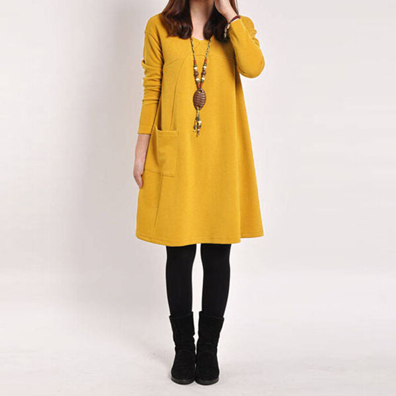 Women Baggy Party Midi Dress Vintage Loose ZANZEA Casual V-Neck Long Sleeve Pockets Solid A-line Bodycon Dress Kaftan Vestido