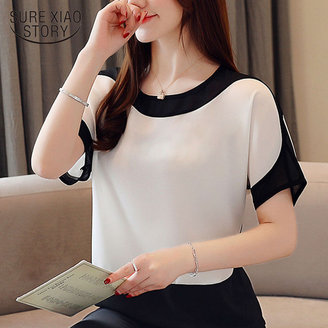 Womens tops and blouses fashion 2019 chiffon blouse plus size ladies tops shirts Solid Short O-Neck Batwing Sleeve 3397 50