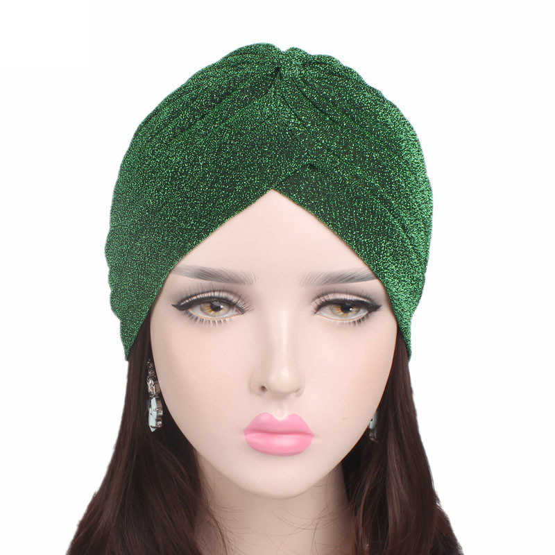 LNRRABC 2018 Women Fashion New Gold Shiny Turban Stretchable Soft Bright Hat Indian Style Muslim Thin Hijab Turban Head Wraps