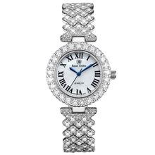 תכשיטי יוקרה ליידי נשים של שעון בסדר אופנה שעות חודים הגדרת צמיד ריינסטון זהב מצופה ילדה מתנה רויאל קראון תיבה