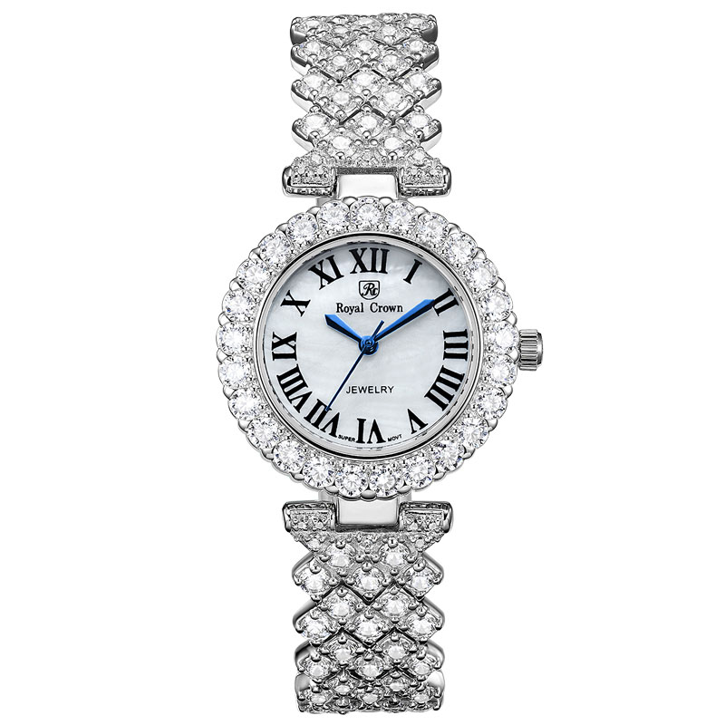 Luxury Jewelry Lady Womens Watch Fine Fashion Hours Prong  Setting Bracelet Rhinestone Gold Plated Girl Gift Royal Crown BoxQuartz  Watches