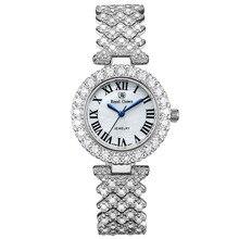 Reloj de lujo para mujer, joyería fina a la moda, ajuste de horas, pulsera con diamantes de imitación chapados en oro, regalo para niña, caja de corona real