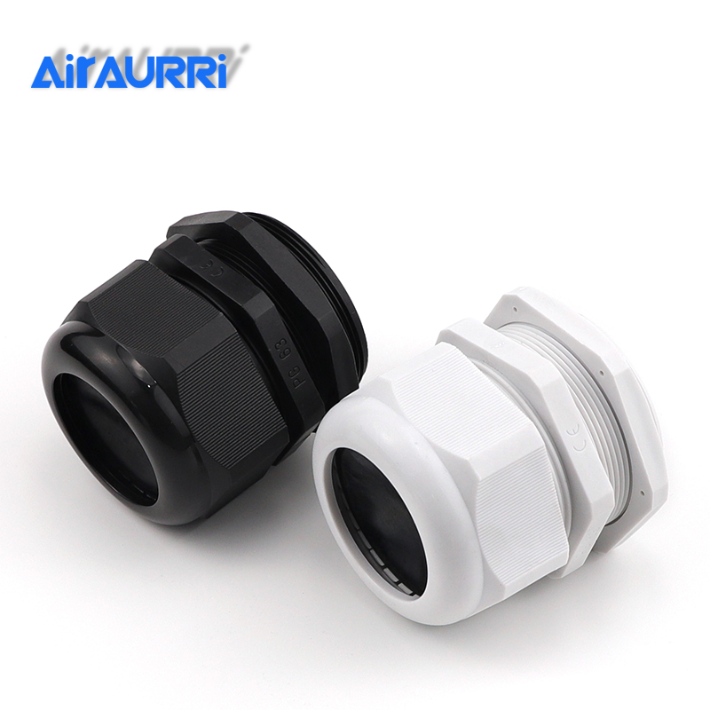 100pcs//lot PG16 Waterproof Cable Gland Connector Black Adjustable IP68 M22 Plastic Cable Gland with Locknut for 10-14mm Wire