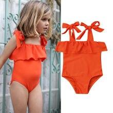 Orange Baby Girl Bikini Set Swimwear Swimsuit Beachwear Swimming Bathing Suit for Children Cloth Kid Toddler Clothing