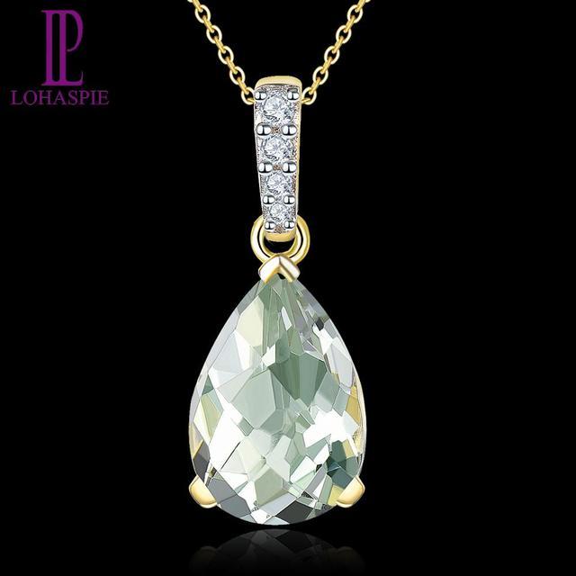 LP Natural Gemstone Green Amethyst 1.63CT 14K Yellow Gold Engagement Diamond Pendant Fine Jewelry For Women's Gift