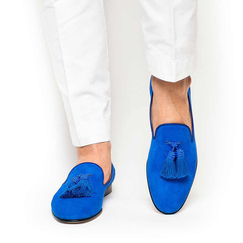 Royal Blue Suede Men Shoes Tassel Loafers Slip On Smoking Flats Men's Statement Shoes