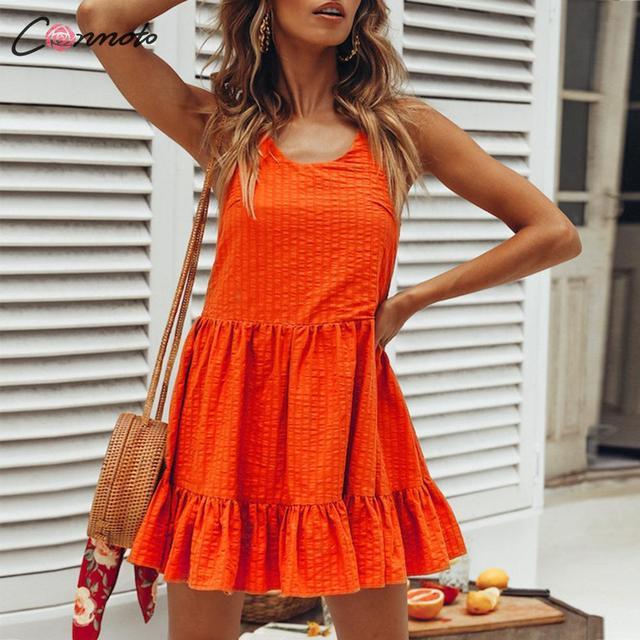 2a709a12ef5b36c Conmoto Solid Summer Female Dress Party Sexy Spaghetti Strap Beach Dress  Bow Backless Short Women 2019