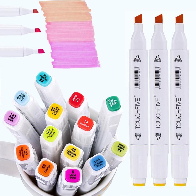 Touchfive isteğe bağlı renk çift kafa sanat belirteçleri tek alkol bazlı eskiz belirteçleri Manga çizim fırça kalem boya malzemeleri