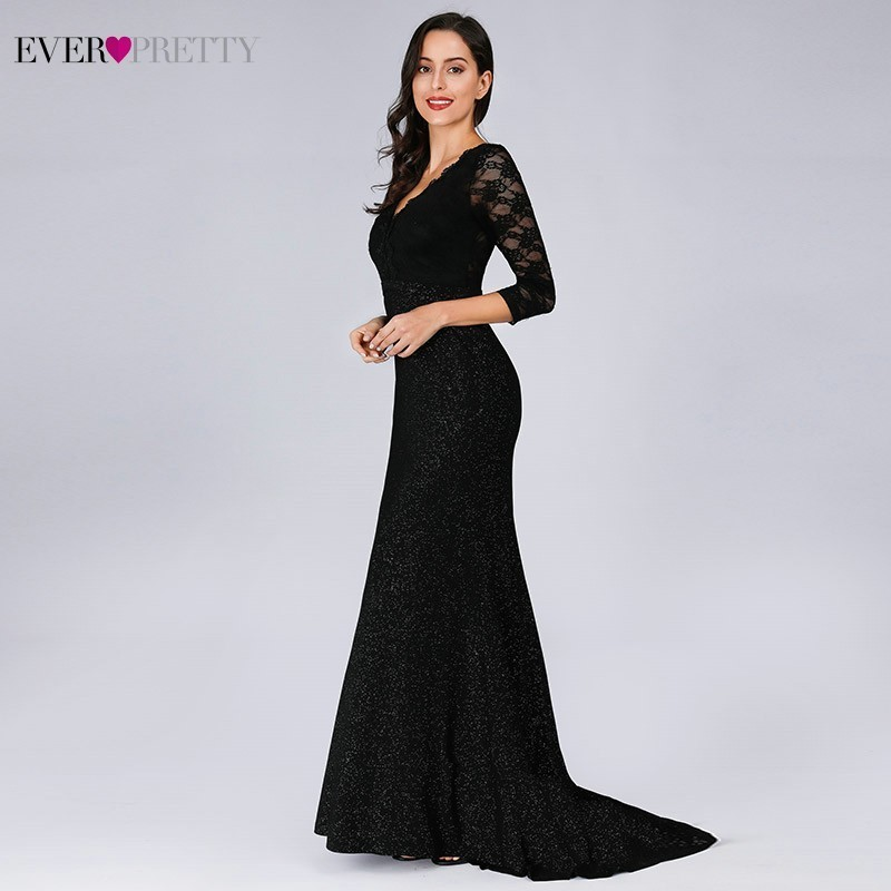 Ever-Pretty Mesh Wedding Dresses Long Fishtail Mermaid Sequins Evening Gown Navy