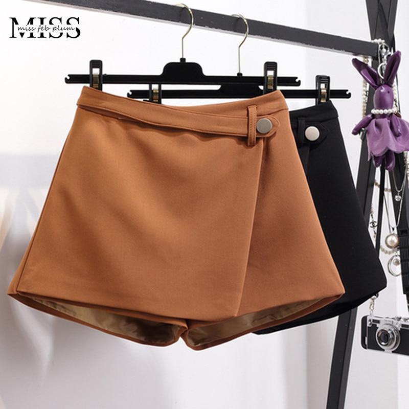 MISSFEBPLUM Summer Shorts For Women 2018 High Waist Casual Irregular Wide Leg Short Slim Cotton Plus Size Solid Shorts Skirts