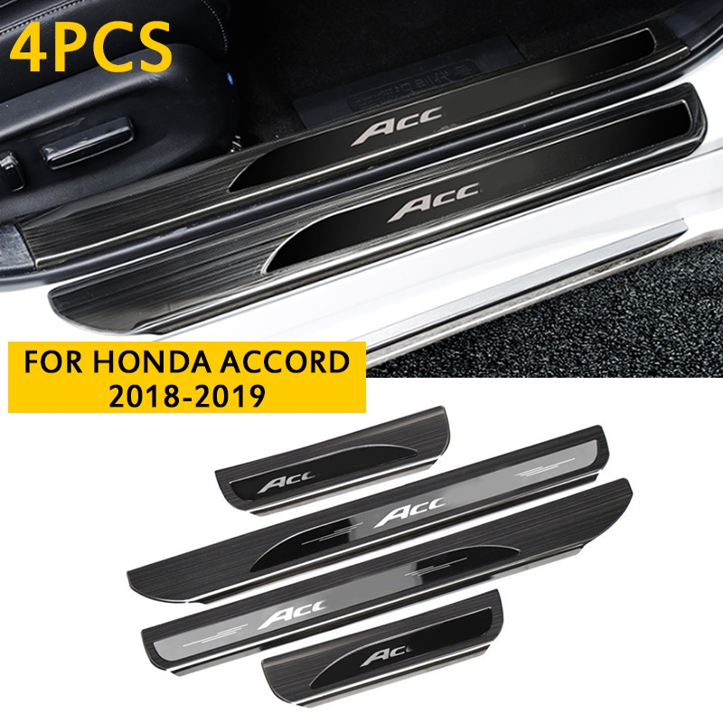 4PCS Outer Door Stainless Sill Plate Scuff Cover For Honda Accord 2018