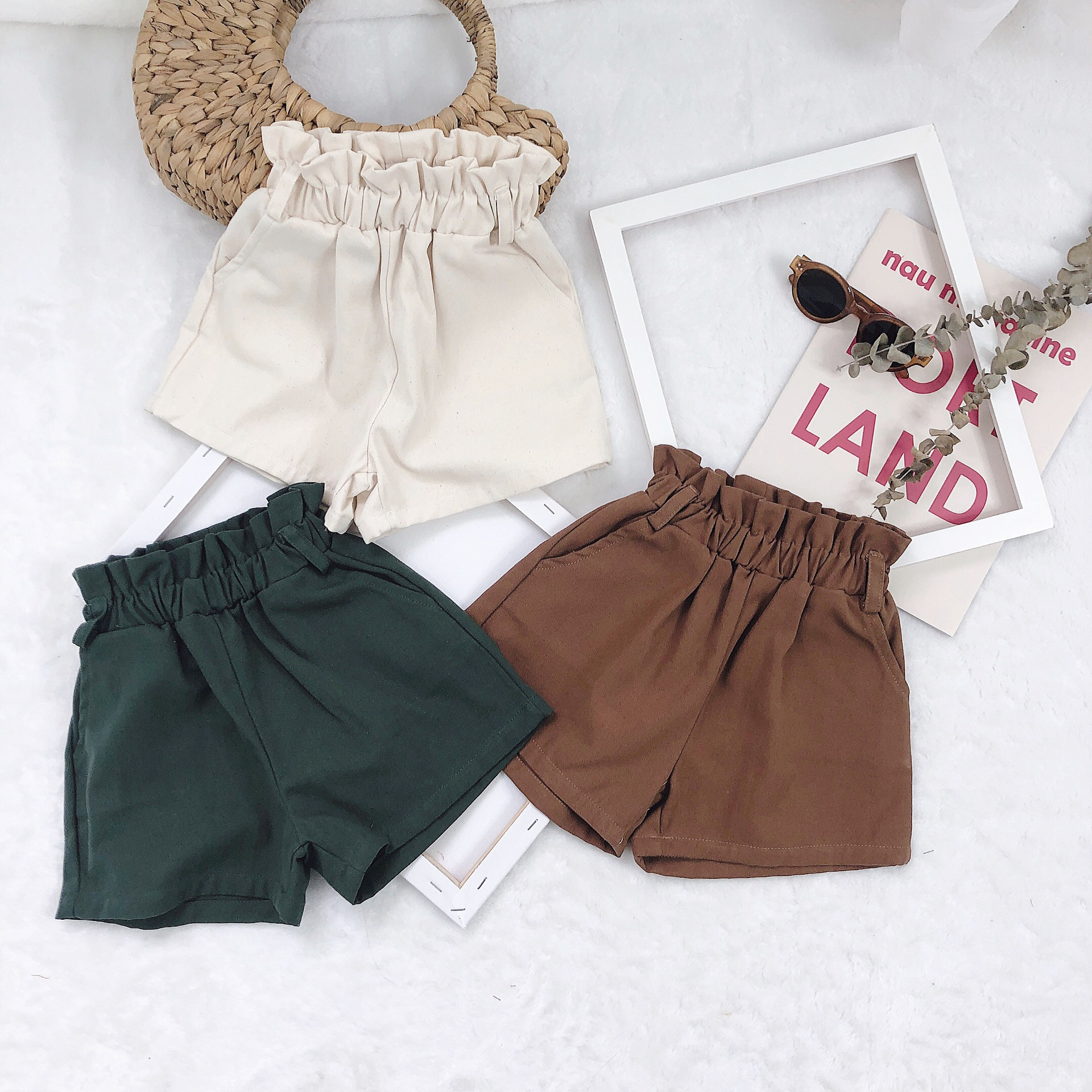 New 2019 Summer Children Little Girls Pure Color Water Washed Short Pants Toddler Baby Kids Ruched Waist Leisure Panties