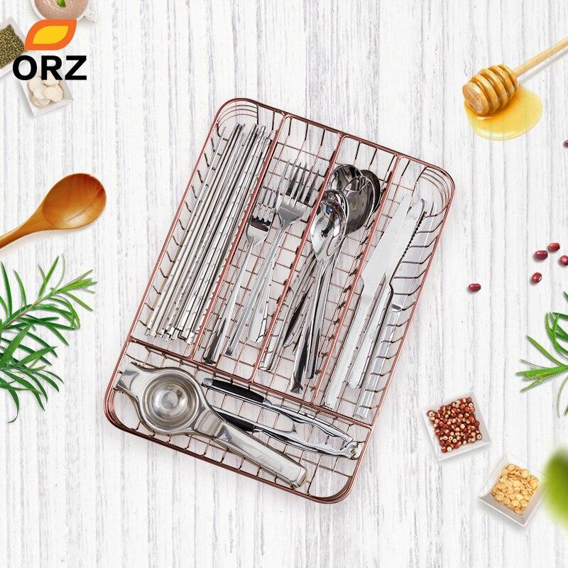 ORZ Rose Gold Kitchen Cutlery Organizer 5 Parts Tableware Drawer Organizer Basket Utensil Storage Box Kitchen Accessories Tray|Storage Trays|   - AliExpress