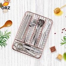 ORZ Rose Gold Kitchen Cutlery Organizer 5-Parts Tableware Drawer Basket Utensil Storage Box Accessories Tray