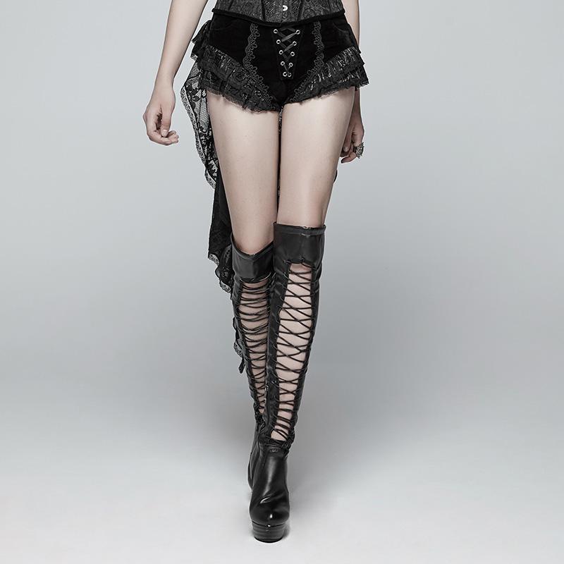 Punk Rave Lolia delle Donne Lace up Orlo di Pizzo di Velluto Shorts Con Lunghe Ruffles WK354XDF