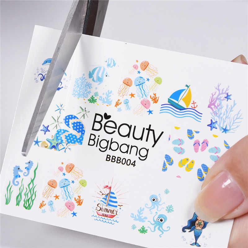 BeautyBigBang 1 Copriletto Estate Oceano Delfino Sirena Pianta Disegni Unghie artistiche di Trasferimento Dell'acqua Autoadesivi Del Chiodo Della Decalcomania di Punta Manicure Decor