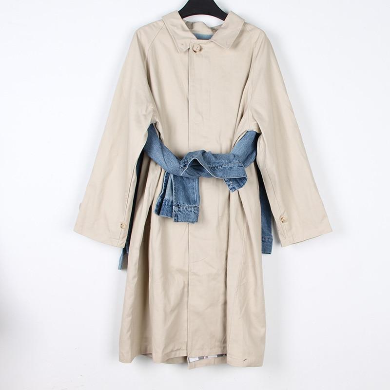 Manteau Denim Hiver Pardessus Veste Vêtements Harajuku Longues Bleu 2018 Femmes Streetwear Manches Patchwork nqUd0IT6xw