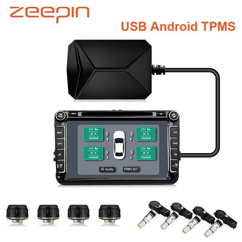 USB voiture intelligente TPMS Android DVD Navigation voiture système de surveillance de la pression des pneus capteurs internes externes alarme de pneu 0-116Psi