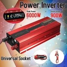 Автомобильный инвертор 12 В/24 В 220 в 6000 Вт P eak Инвертор преобразователь напряжения трансформатор постоянного тока 12 В/24 В переменного тока 220 В инверсор ЖК-дисплей