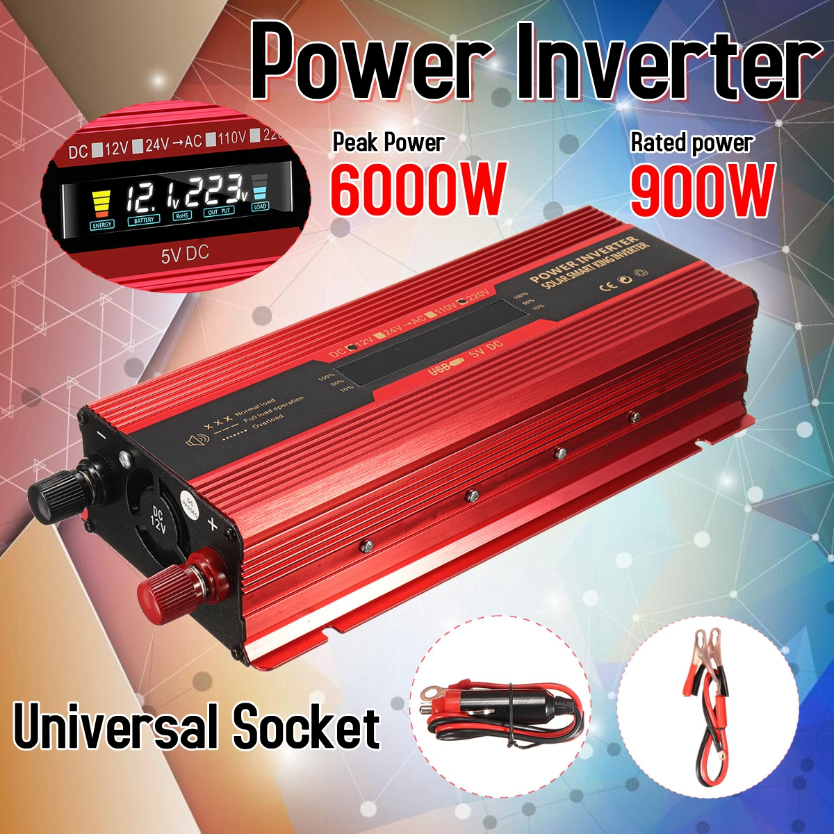 цена на Car Inverter 12V/24V 220V 6000W P eak Power Inverter Voltage Convertor Transformer DC 12V/24V To AC 220V Inversor LCD Display
