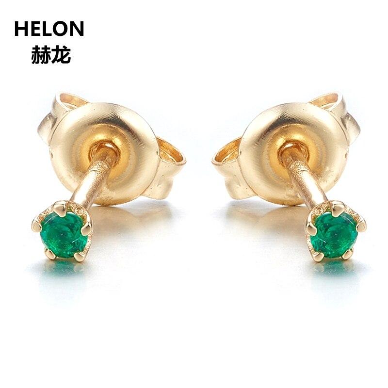 Solide 14 k or jaune naturel bleu saphirs rouge rubis émeraude boucles d'oreilles femmes boucles d'oreilles bijoux fins 2mm rond