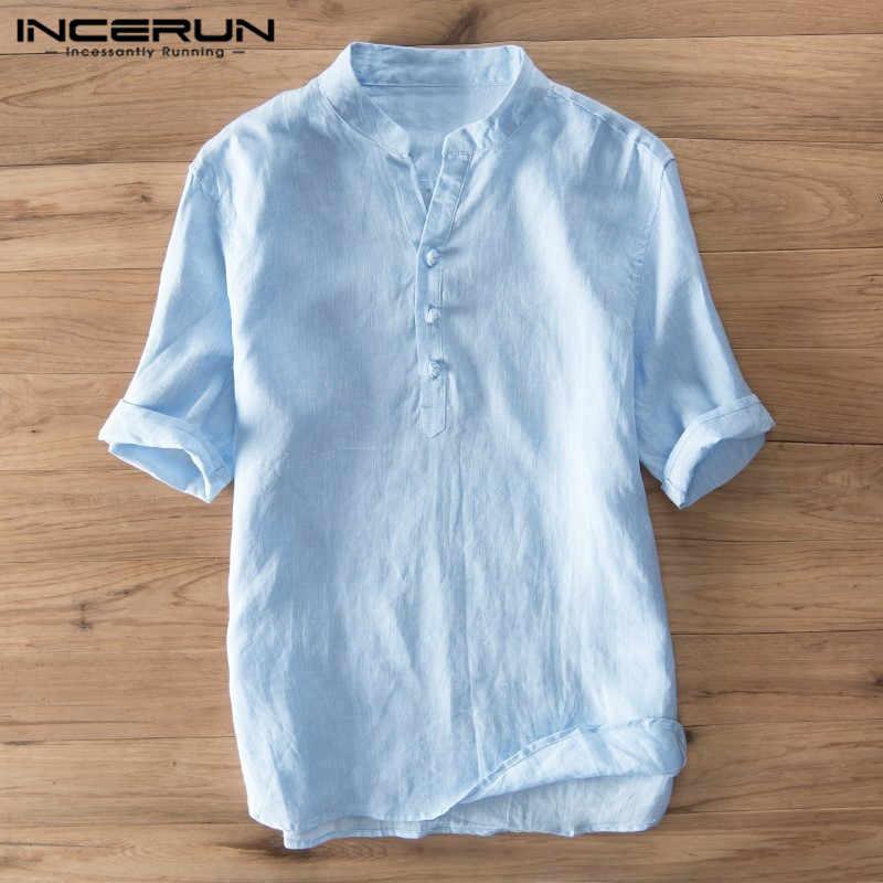 INCERUN ヴィンテージカジュアルシャツ男性綿スタンドストリート夏通気性半袖メンズブランドシャツ 2019 トップス