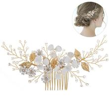 Bridal Tiara Fashion Beautiful Handmade White Flower Crystal Gold Hair Comb Vintage Alloy Wedding Clothing Accessories