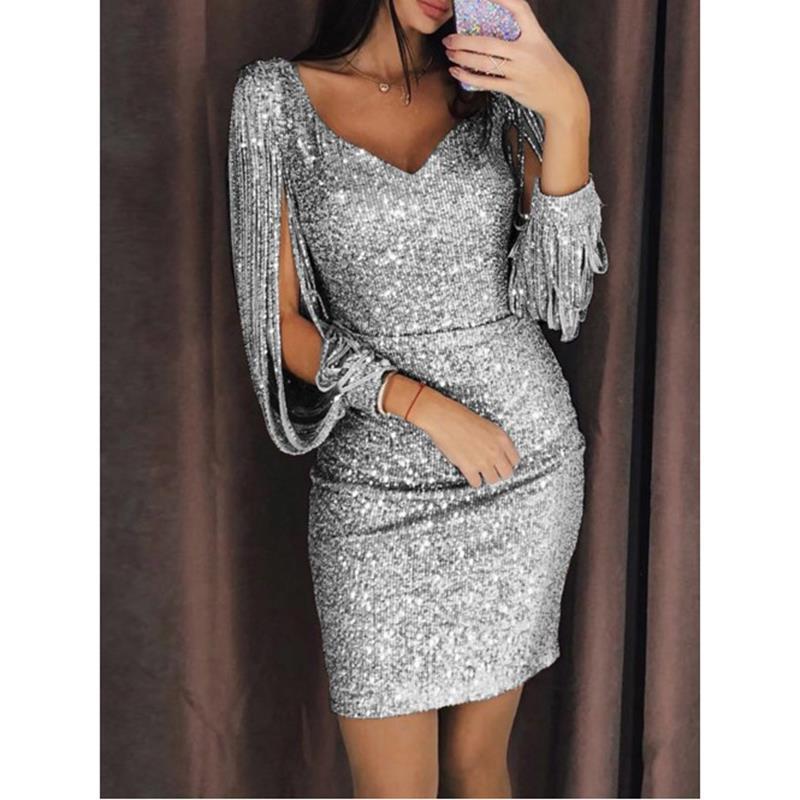 Silver glitter mesh long sleeve bodycon dress for summer charlotte