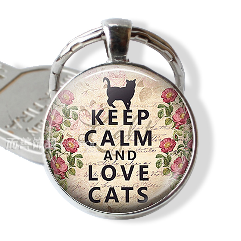 Fashion Accessories Keep Calm And Love Cats Funny Glass Dome Quote Car Keychain Key Chain Rings Black Cat Lover Creative Gift