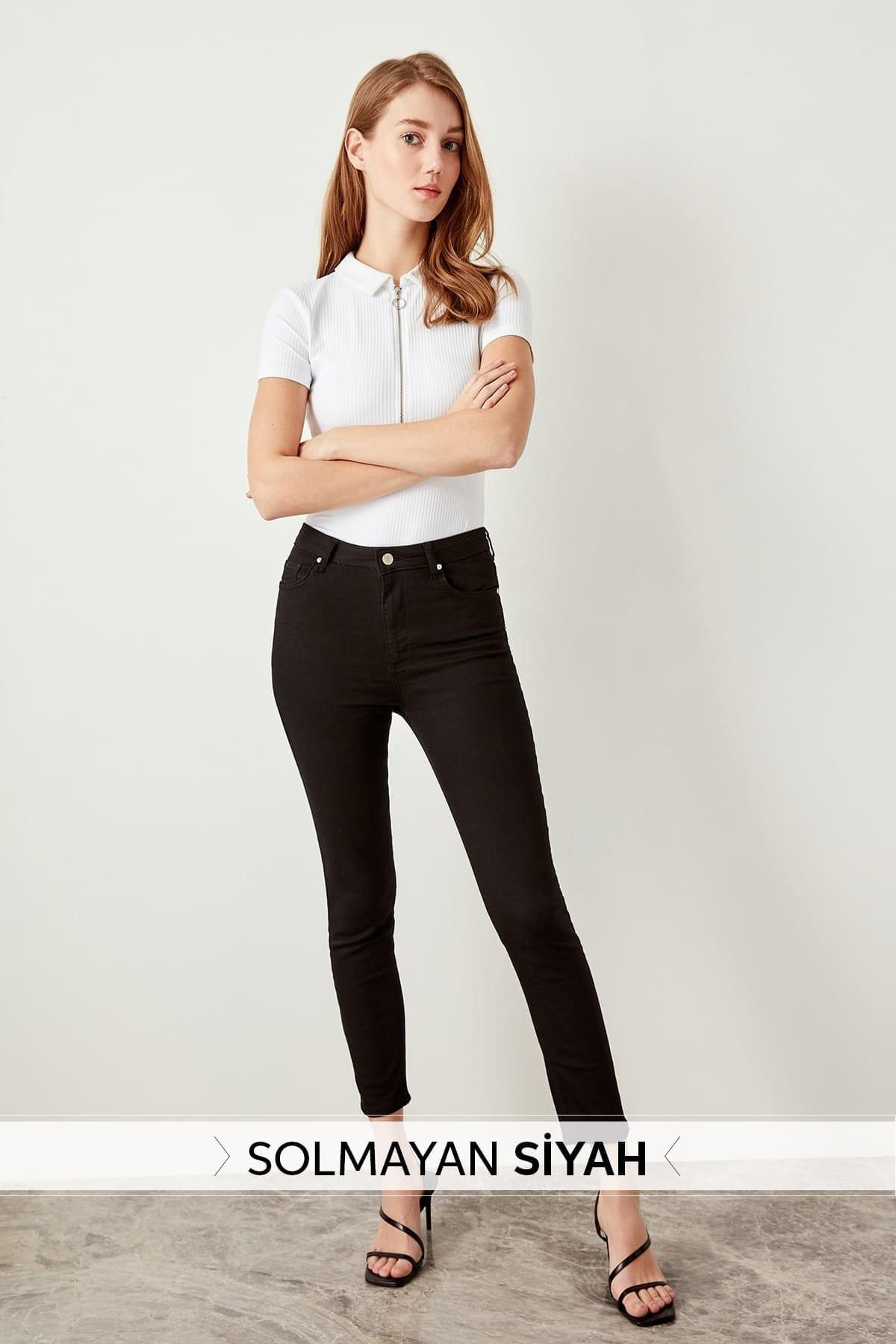 Trendyol Black High Waist Skinny Jeans TWOSS19LR0279