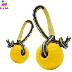 1pc Teeth Indestructible Bite Rubber Puppy Funny Training Ball Chew Toys Play Fetch Solid with Carrier Rope Pet Dog Toy(China)