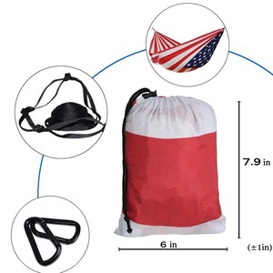 "Image 3 - 1 2 People Outdoor Camping Hammock US Flag Printing Parachute Fabric Sleeping Bed Hamak Hamac Independence Day Gift  106""*55"""
