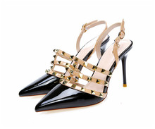 New Hot red Women High Heels Pumps Ladies Sexy Pointed Toe Rivet High Heels Shoes Fashion Buckle Studded Stiletto Sandals 34-43