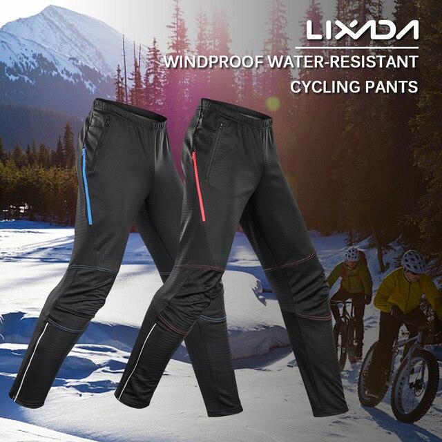 e2c0acba4 US $22.56 19% OFF|Lixada Men's Waterproof Cycling Pants Thermal Fleece  Windproof Winter Bike Bicycle Riding Running Sports Pants Trousers-in  Cycling ...