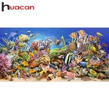 Huacan Diamant Malerei Fisch Tier 5D DIY Kit Kreuz Stich Diamant Stickerei Meer Strass Mosaik Volle Platz Home Dekoration