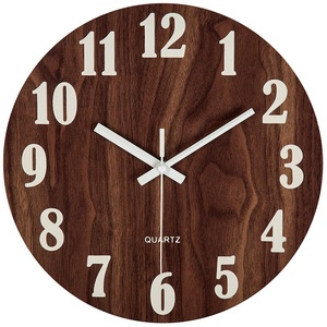 12 Inch Night Light Function Wooden Wall Clock Vintage Rustic Country Tuscan Style For Kitchen Office Home Silent & Non-Tickin(China)