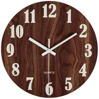 12 Inch Night Light Function Wooden Wall Clock Vintage Rustic Country Tuscan Style For Kitchen Office Home Silent & Non-Tickin