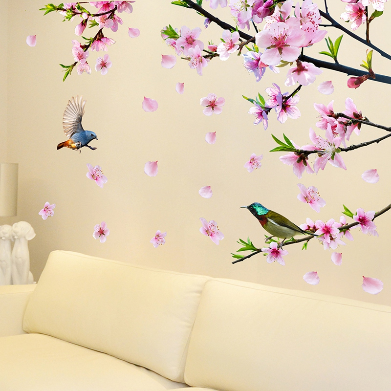 Peach Blossom Tree Branch Wall Stickers Diy Flowers Birds Wall Decals For House Living Room Bedroom Decoration