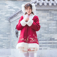 New Super Cute Chinese Style Winter Thick Sakura Embroidery Fluffy Fur Lolita Coat Long Festival Feel Outwear Gift of headdress
