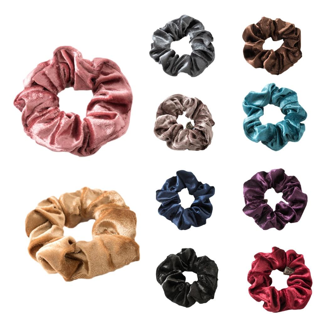 1Pc Solid Color Lady Hair Scrunchies Ring Elastic Hair Bands Pure Color Bobble Sport Dance Cotton Velvet Soft Scrunchie Hairband