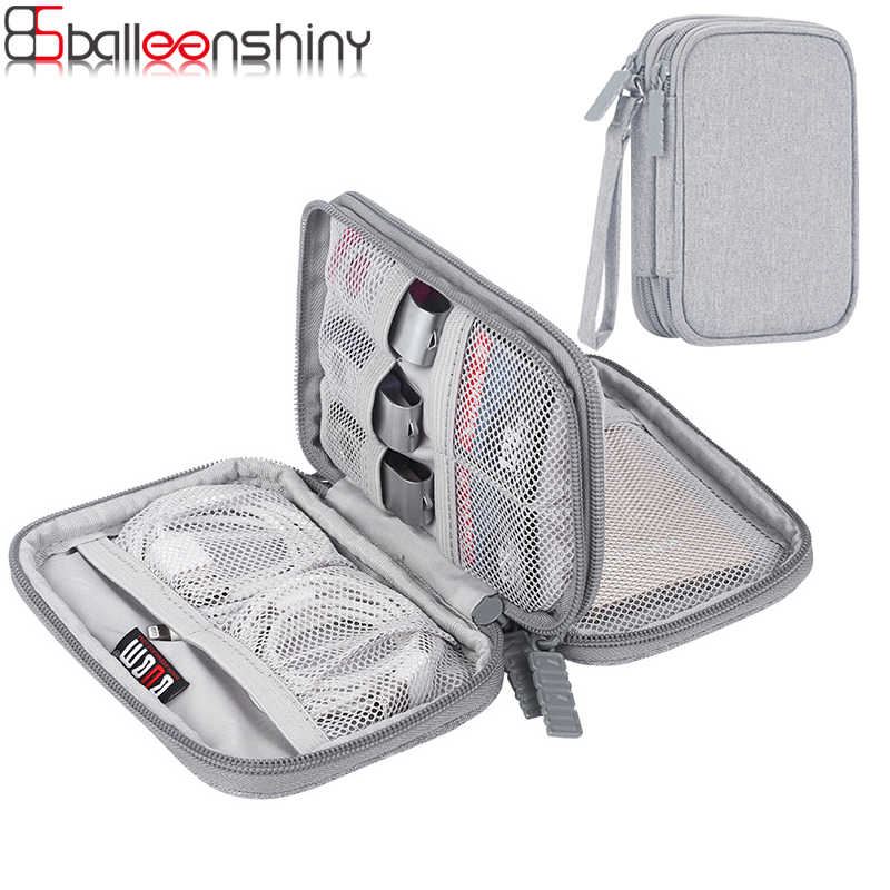 BalleenShiny Double Layer Digital Electronic Products Storage Bag SD Card,USB Flash Disk Case Date Line Phone Cable Organizer