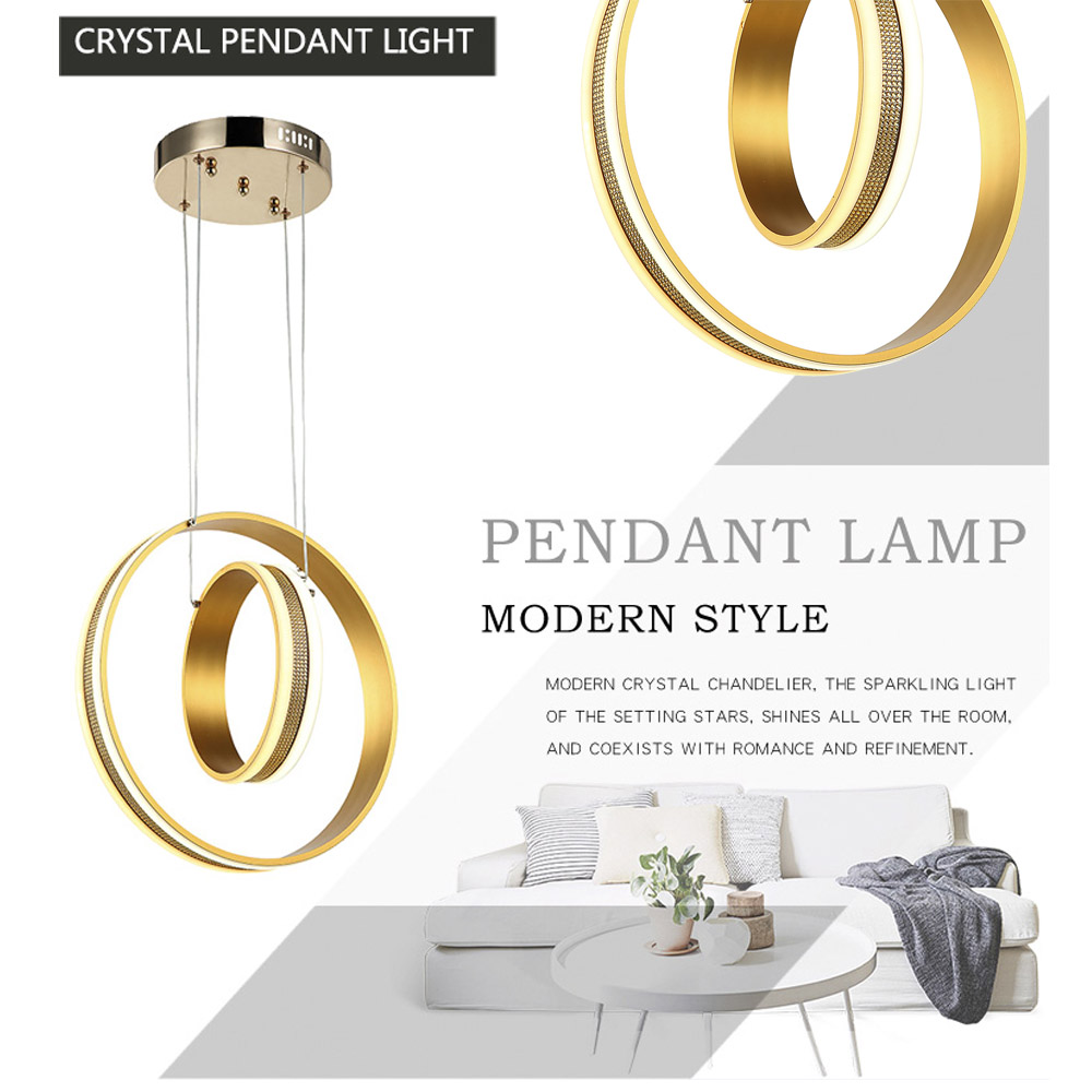 Gold Rings Ceiling Light Indoor Crystal Lighting Modern LED hanging ceiling Lamp led For Living Dining