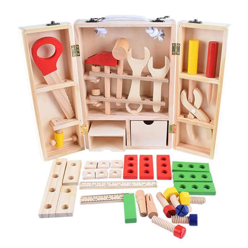 1 Set Kinder Baby Holz Multifunktionale Werkzeug Set Spielzeug Diy Wartung Box Pretend Spielzeug Kinder Geburtstag Neue Jahr Geschenk Pädagogisches Weder Zu Hart Noch Zu Weich