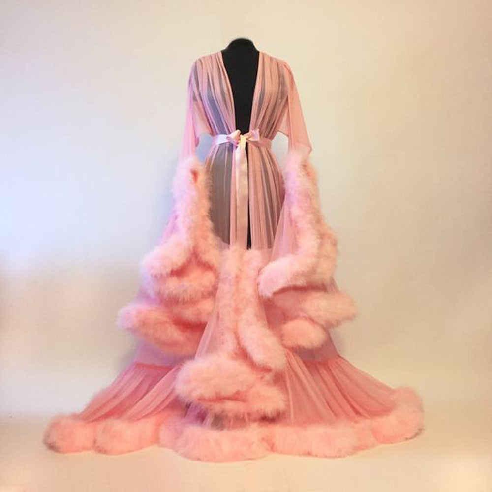レディースレディースランジェリーレース毛皮ローブ着物花嫁介添人ロングレースローブ結婚式寝間着パジャマドレッシングガウン赤、ピンク、緑