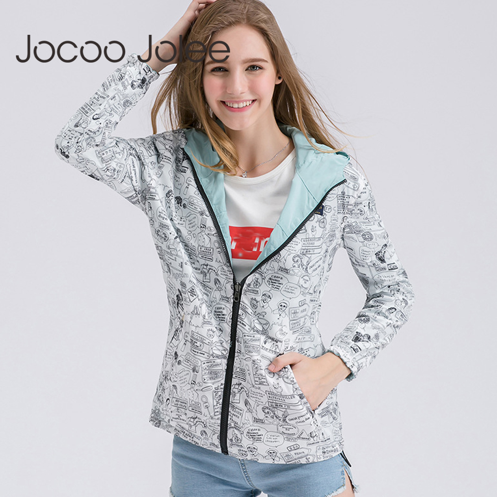 Jocoo Jolee Women 2018 Autumn Bomber Basic Jacket Female Hooded Loose Coat Two Side Wear Cartoon Print Outwear Coat