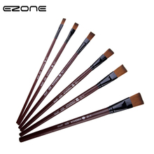 цена на EZONE 6PCS/Set Pain Brush Nylon Hair Pen Waterbrush Flat Tip Acrylic Gouache Watercolor Oil Painting Art Tools Art Paint Pen Set