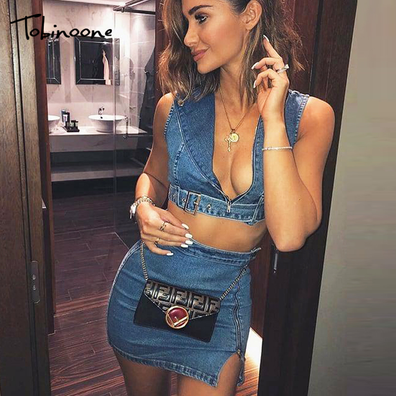 Tobinoone Zipper Denim Two Piece Set Women Summer Sleeveless Crop Top and Skirt Set Cotton Casual Ladies Sets Sexy Club Wear
