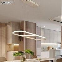 Затемнения светодиодный подвесные светильники круглый прямоугольная лампа для Гостиная столовая Шнур Повесить лампа алюминиевый корпус п